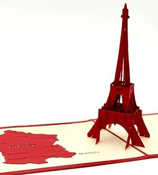 Carte pop-up Tour Eiffel Rouge