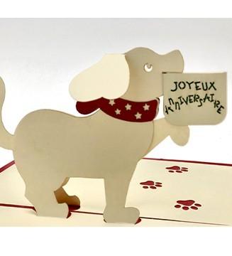 Carte pop-up Petit Chien Anniversaire