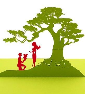 Kirigami Demande en mariage les amoureux sous l'arbre