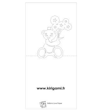 Kirigami gratuit petit ourson